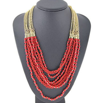 Handmade Woven Multi Layer Bead Necklace - Includes Strands of Braided Seed Beads