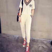 """Adidas"" Women Casual Multicolor Stripe V-Neck Short Sleeve Trousers Set Two-Piece Sportswear"