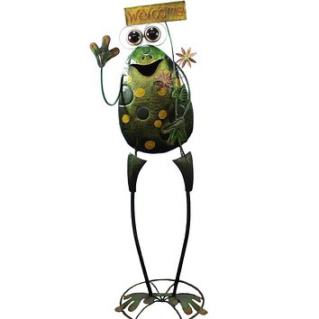Home & Garden Frog Holding Welcome Sign Outdoor Decor