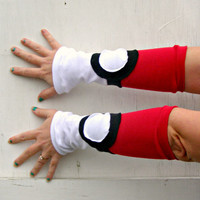 Pokemon inspired Arm Warmer Gloves pokeball gamer Cosplay Costume racing