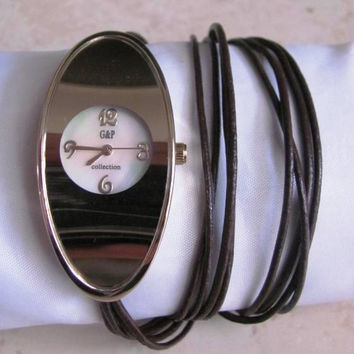 Handmade Bracelet Oval Silver Watch with a real leather band  FREE SHIPPING