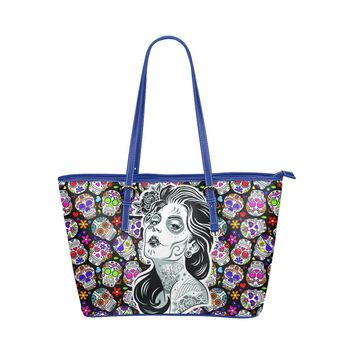 Hip Water Resistant Small Leather Tote Bags Sugar Skull #5 (5 Colors)