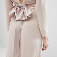 TFNC Petite Wedding Bow Back Maxi Dress With Long Sleeves