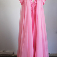 Vintage 1970s Pink Nightgown And Robe Set / Claire Sandra by Lucie Ann Peignoir