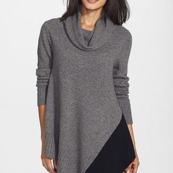 Women's Eileen Fisher Asymmetrical Colorblock Yak & Merino Cowl Neck Poncho