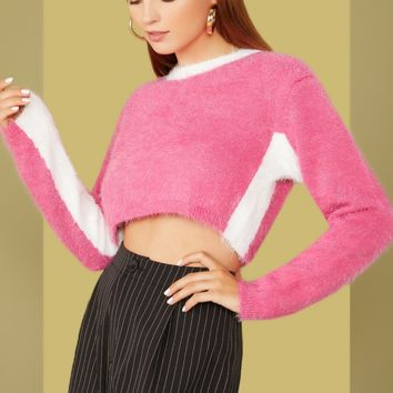 Two Tone Fuzzy Crop Sweater