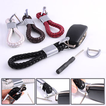 High Quality Beautifully Braided Leather Strap Keychain For Your Automobile