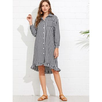 Ruffle Dip Hem Gingham Shirt Dress