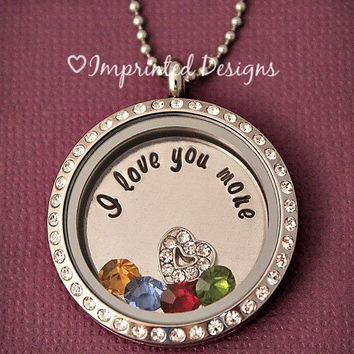 Floating Locket / Memory Locket / Floating Charm Locket / I Love You More / Hand Stamped Necklace
