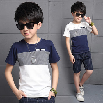 Summer boy leisure suit shorts stitching two pieces sets new kids 5 8 13 years old clothes baby boy clothes teenage cotton suit