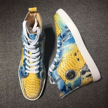 Christian Louboutin CL Python Style #2253 Sneakers Fashion Shoes Best Deal Online