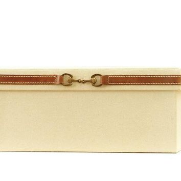 Stirrup Detail Box-Canvas and Brown Leather