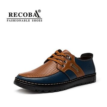 Mens casual shoes  genuine leather solid lace up flats  oxfords mocassin shoes mens zapatos hombre