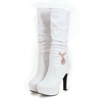 2017 Woman's Platform Boots  Thick High Heels Comes in French Vanilla, Coconut White and Black Licorice