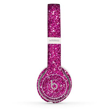 The Bright Pink Glitter Skin Set for the Beats by Dre Solo 2 Wireless Headphones