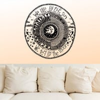Wall Decal Vinyl Sticker Decals Decor Design We Live by the sun We feel by the moon Stars Qoute Ethnical Symbol Bedroom Dorm Office (r10100)