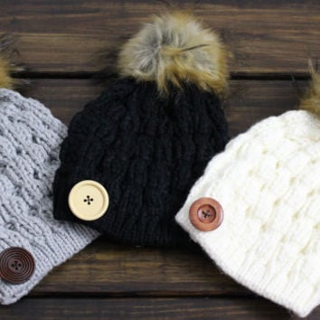 Pom Pom Beanie, Knitted Hat, Women's Pom Pom Beanie, Slouchy Beanies, Cable Knit Hat, Winter Hat, Grey, Ivory, Black, Knitted Hat, Buttons