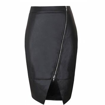 Casual Faux Leather Asymmetric Zip Skirt