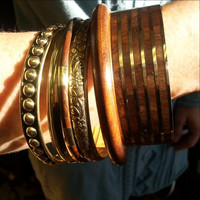 Six Piece Metal and Wood Bangle bracelet Set