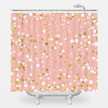 Gold and White Confetti Shower Curtain