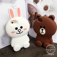 Luxury 3d cartoon bear & rabbit soft silicone case back rabbit protective mobile phone cover skin for iPhone 5 5s 6 6s plus