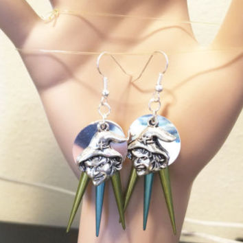 silver witch face chandelier earrings halloween blue green spikes goth jewelry