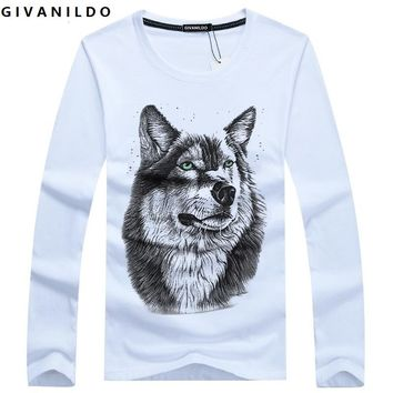 Givanildo Wolf Men T-shirt Winter Clothes Long Sleeve Tee Shirt Homme T Shirt 4XL Fashion Casual Cotton Mens Tops Tees BY051