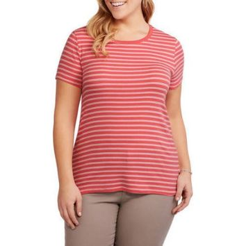 Faded Glory Women's Plus Essential Baby Rib Crewneck T-Shirt - Walmart.com
