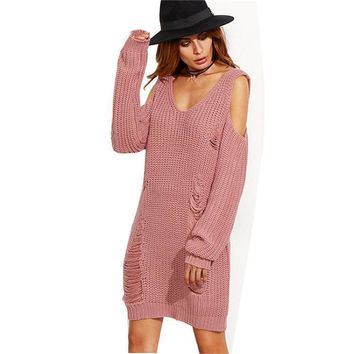 2017083101 Knitting Hollow Out Women Sweater Dress Sexy V Neck Pullover Off shoulder Long ponchos mujer 2017 robe pull femme hiver