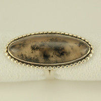 Vintage Oval Moss Agate Stone Sterling Silver Ring