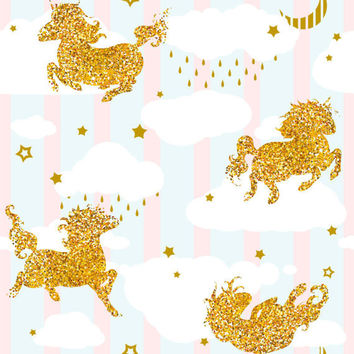 Gold Glitter Unicorn clipart and two seamless patterns - perfect for scrapbooking and making invitations or decorations