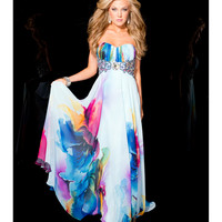 Jasz Couture 2013 Prom - Strapless Print Sexy Back Gown - Unique Vintage - Cocktail, Pinup, Holiday & Prom Dresses.