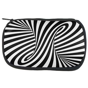 Trippy Black And White Swirl Makeup Bag