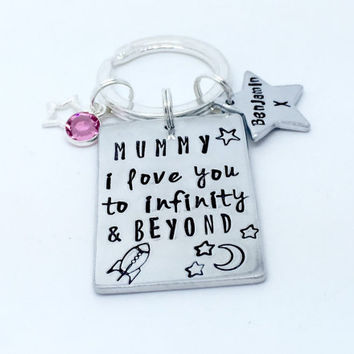 Mummy i love you to infinity and beyond hand stamped charm keyring keychain
