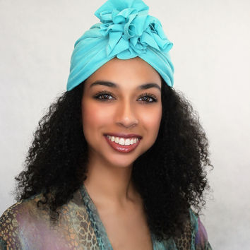 Aqua Teal Flower Turban