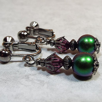 Clip On Earrings Purple and Green Dangle Drop Gunmetal Made with Swarovski Elements Womens Formal Retro Style Ladies Gift Bling Glitz Glam