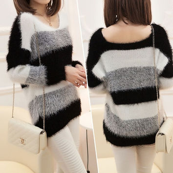 NWT 2014 Women's Fashion Striped Pullover Crochet Sweater Casual Plus Size Tops Knitted Jumper For Handsome Maternity Sweaters (Color: White & Blue)