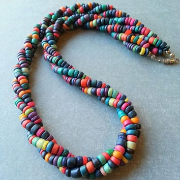 Vintage Multicolor Beaded Necklace - Wood Bead Necklace - Heishi Necklace - Twisted Bead Necklace - Dyed Coconut Necklace - Vintage Necklace