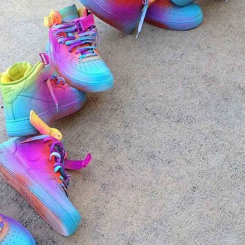 Custom Multi Color Nike Air Force 1 from YvetteCouture on Etsy 9c1450b744