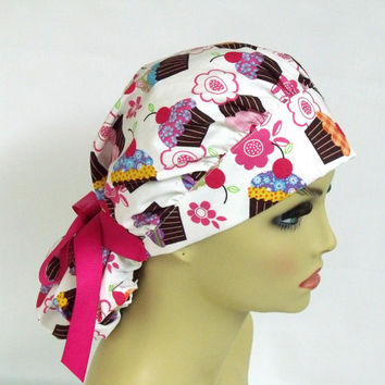 Women's Bouffant  Surgical Scrub Hat or Cap Cherry Topped Cupcakes