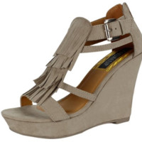 Women's Grey Slingback Wedge Fashion Heeled Platform Trendy Sandal