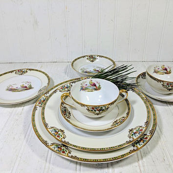 "Large Dinner Plate in Noritake Morimura Chelsea Pattern Antique Dinnerware Individual Fine China Large 9 3/4"" Dinner Plate - 12 Available"