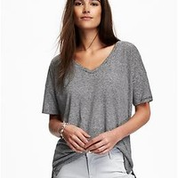 Boyfriend Linen-Blend V-Neck for Women