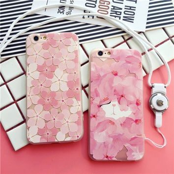 Exquisite fashion Cherry Blossom transparent soft silicone mobile phone case for iphone 6 6s 6plus 6s plus + Nice gift box!-LJ1004