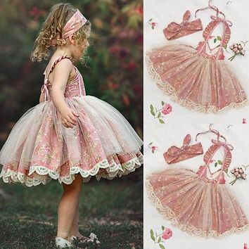 Easter Kids Baby Girl Dress Lace Floral Tulle Party Dress Flower Sundress Outfit