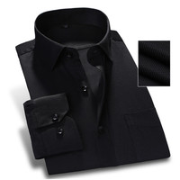 Spring New Pure Color Men Dress Shirt Long Sleeve Classic Fit Twill Fashion Black Work Wear Business Men Casual Shirt