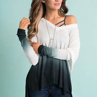 Losing Sleep Ombre Top (Black/White)