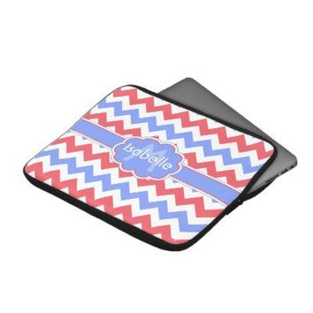Pastel Zigzag Monogrammed Laptop Sleeve from Zazzle.com