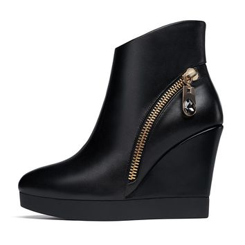 Women's Boots Wedge Heel High Heels Ankle Booties Shoes Platform Fashion Chic