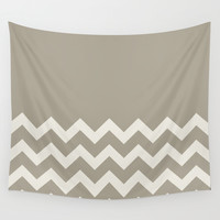 Chevron Colorblock Alabaster Blue Gray Wall Tapestry by Beautiful Homes
